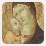 Madonna y niño pegatina cuadrada