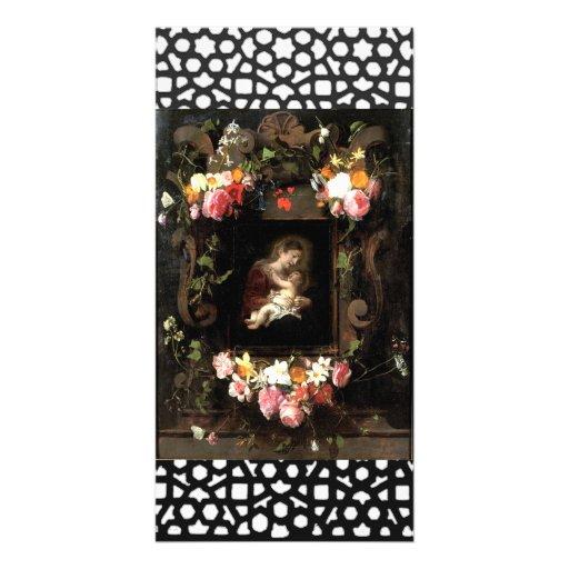 Madonna y niño plantilla para tarjeta de foto