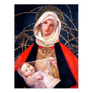 Madonna y niño. Postales del navidad de la bella