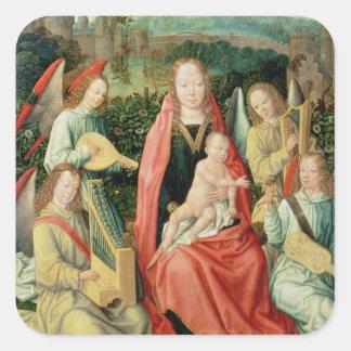 Madonna y niño rodeados por ángeles pegatina cuadrada