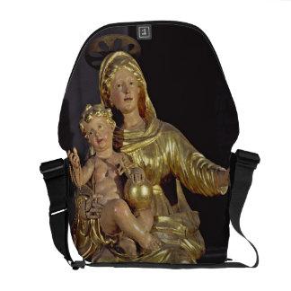 Madonna y niño, siglo XVII (madera dorada) Bolsas De Mensajería