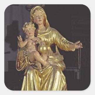 Madonna y niño, siglo XVII (madera dorada) Calcomanias Cuadradas