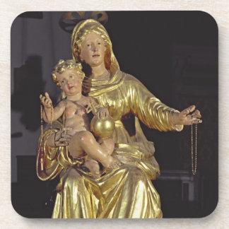 Madonna y niño, siglo XVII (madera dorada) Posavasos De Bebidas