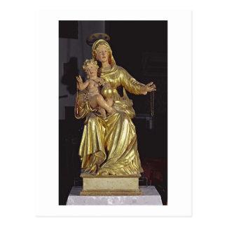 Madonna y niño, siglo XVII (madera dorada) Postal