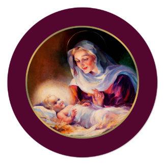 """Madonna y niño. Tarjetas de Navidad planas Invitación 5.25"""" X 5.25"""""""