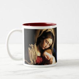 Madonna y niño taza de dos tonos