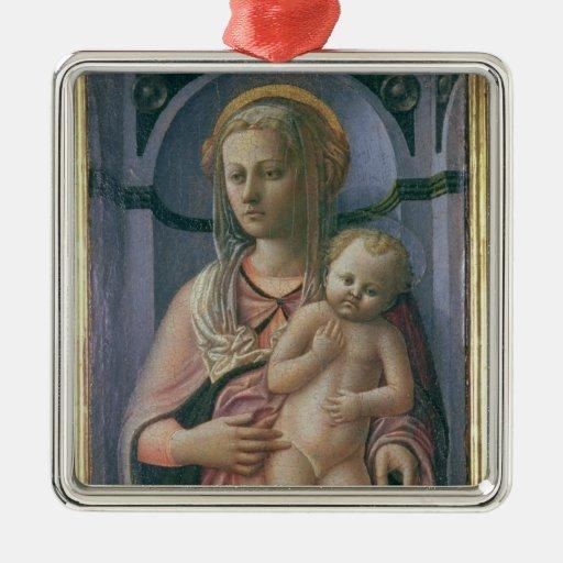 Madonna y niño (tempera en el panel) adorno navideño cuadrado de metal