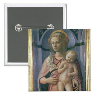 Madonna y niño (tempera en el panel) pin cuadrado
