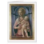 Madonna y niño (tempera en el panel) tarjeta de felicitación