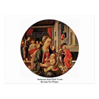 Madonna y niño Tondo por Lippi Fra Filippo Postal