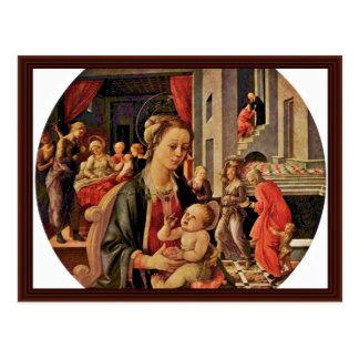 Madonna y niño Tondo por Lippi Fra Filippo Postales