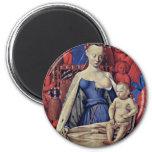 Madonna y niño [Virgen con el niño y ángeles] ( Imán Redondo 5 Cm