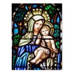 Madonna y niño - vitral postales