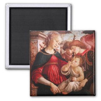 Madonna y niño y dos ángeles imán para frigorifico