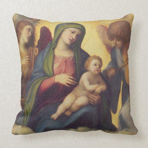 Madonna y niño y niño en la gloria, c.1520 (aceite cojín