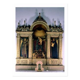 Madonna y niño y santos (altarpiece del tríptico) tarjeta postal