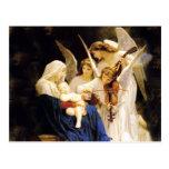 Madonna y niño y tres ángeles postal