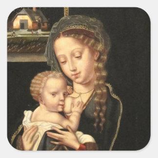 Madonna y oficio de enfermera del niño pegatina cuadrada