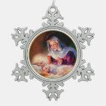 Madonna y ornamentos del copo de nieve del navidad adorno