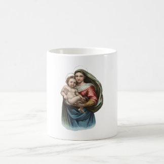 Madonna y papel de embalaje del vintage del niño taza