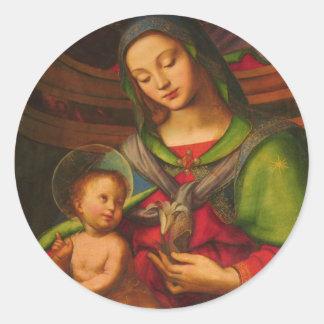 Madonna y pegatina del niño
