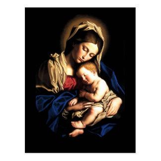 Madonna y postal del personalizado del niño