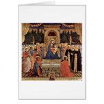 Madonna y santos Enthroned por Fra Angelico Tarjeta