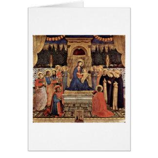 Madonna y santos Enthroned por Fra Angelico Tarjeta De Felicitación