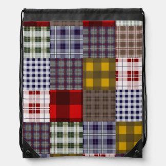 Madras Inspired Plaid Drawstring Backpack