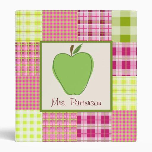 Madras Inspired Plaid Green Apple Teacher Binder
