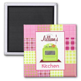 Madras Inspired Plaid Green Stove Kitchen Magnet