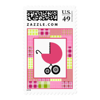 Madras Inspired Plaid Patchwork Baby Shower Stamps