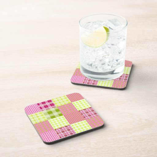 Madras Inspired Plaid Patchwork Cork Coaster