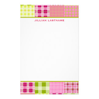 Madras Inspired Plaid Patchwork Stationery