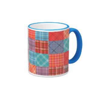 Madras Patchwork Ringer Coffee Mug