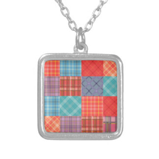Madras Patchwork Square Pendant Necklace