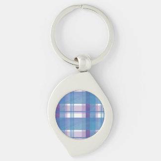 Madras Plaid Blue and Purple Keychain