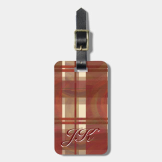Madras Plaid Fall Red Luggage Tag