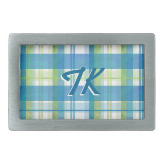 Madras Plaid Green and Blue Belt Buckle