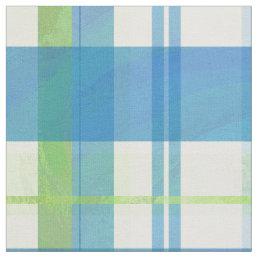 Madras Plaid Green and Blue Fabric