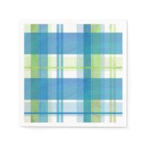 Madras Plaid Green and Blue Paper Napkin