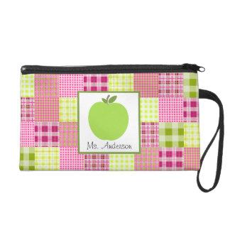 Madras Plaid & Green Apple Wristlet For Teachers