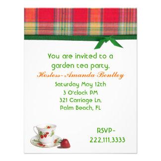 Madras Plaid Tea Party Invitation
