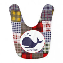Madras Plaid   Whale Personalized Bib