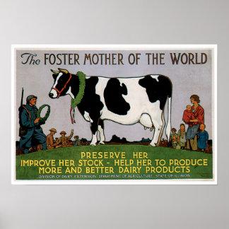 Madre adoptiva del arte del anuncio de la comida póster