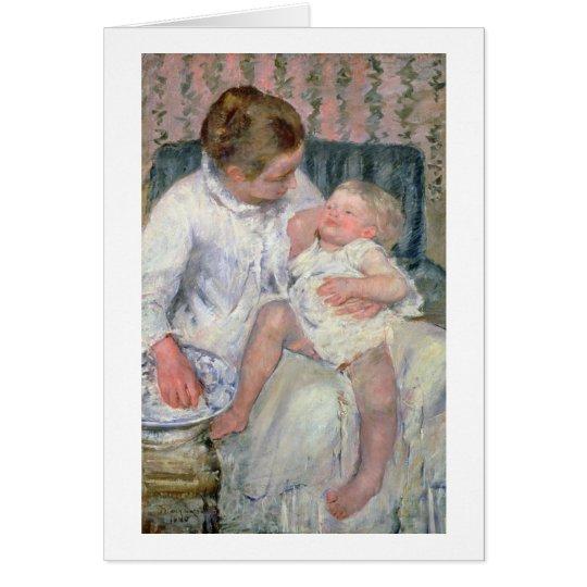 Madre alrededor para lavar a su niño soñoliento, 1 tarjeta de felicitación
