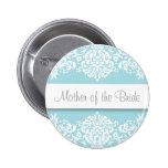 Madre azul del damasco del botón de la novia pin
