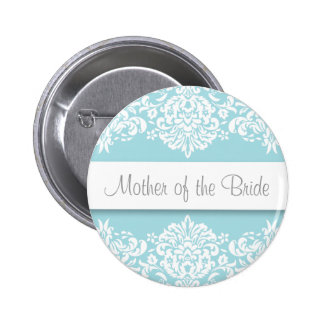 Madre azul del damasco del botón de la novia pin redondo de 2 pulgadas