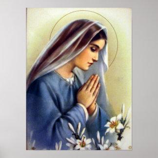 Madre bendecida vintage clásico del Virgen María d Póster