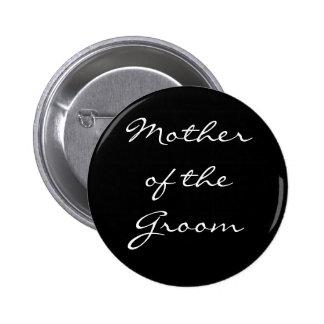Madre blanco y negro del botón del novio pin redondo de 2 pulgadas